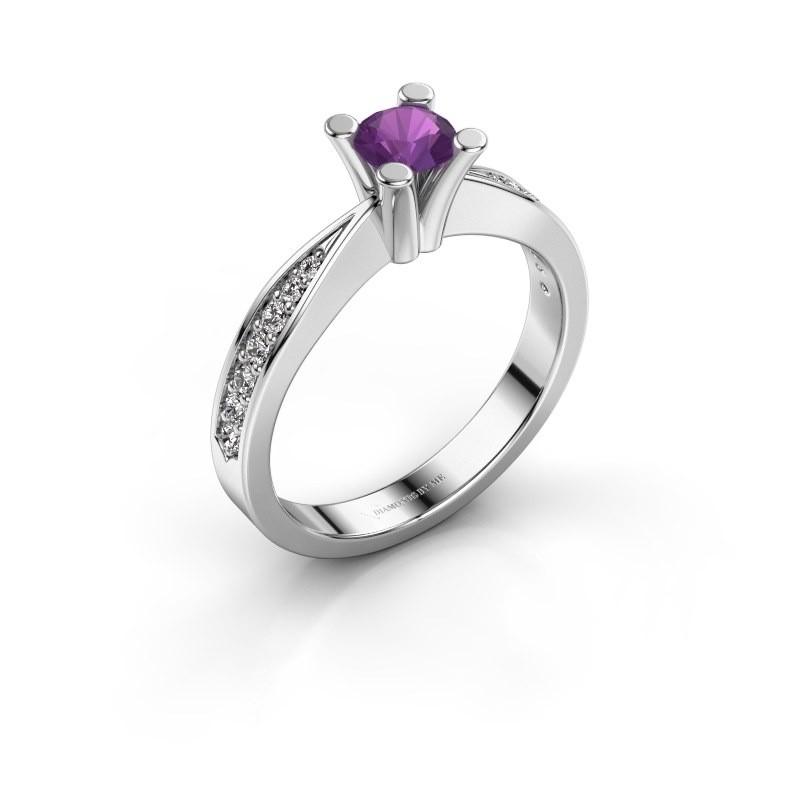 Promise ring Ichelle 2 950 platina amethist 4.7 mm