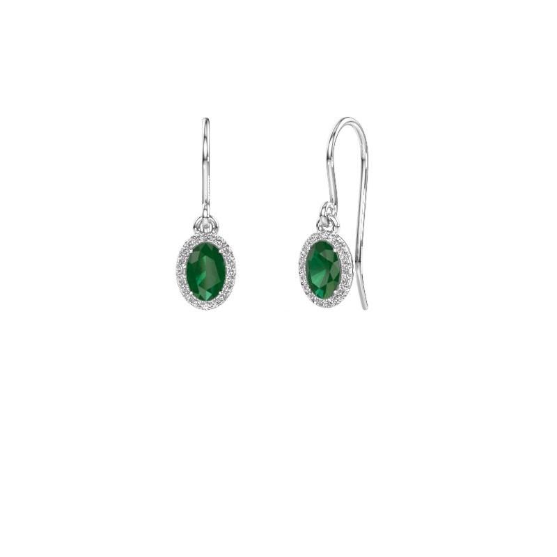 Oorhangers Seline ovl 950 platina smaragd 6x4 mm
