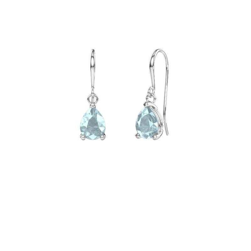 Drop earrings Laurie 1 375 white gold aquamarine 8x6 mm
