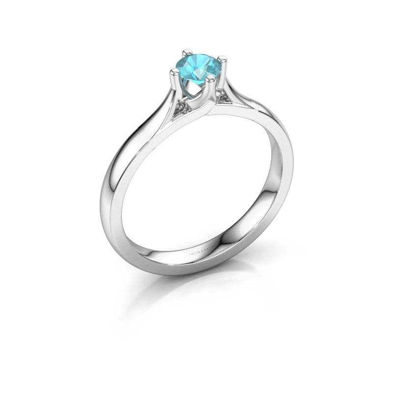 Verlovingsring Eva 925 zilver blauw topaas 4.2 mm
