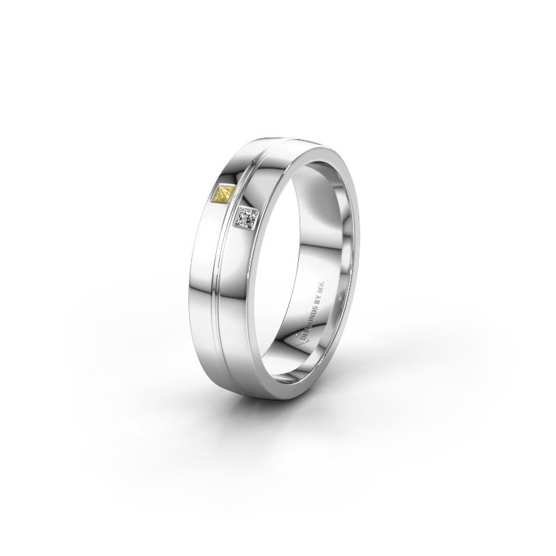 Wedding ring WH0231L25BP 585 white gold yellow sapphire ±0.20x0.08 in