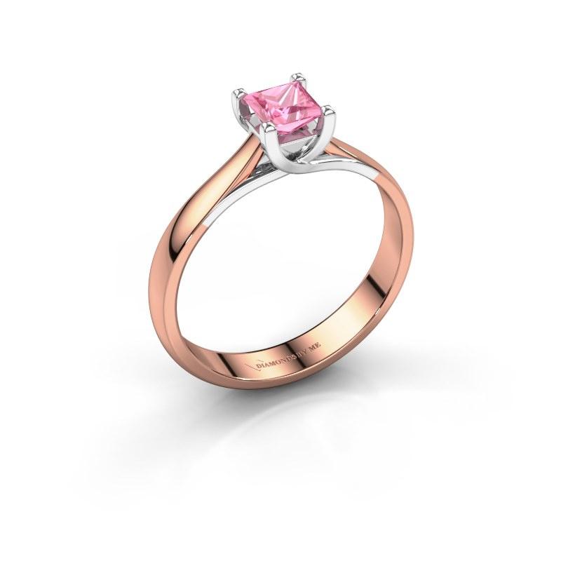 Bague de fiançailles Mia Square 585 or rose saphir rose 4 mm