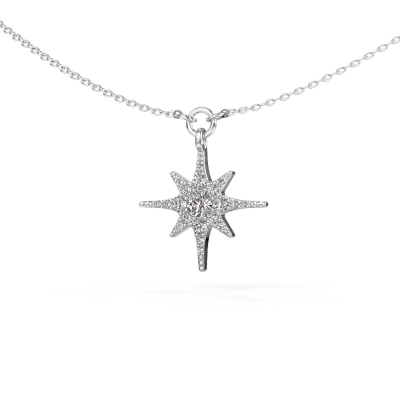 Halsketting Star 585 witgoud zirkonia 3 mm