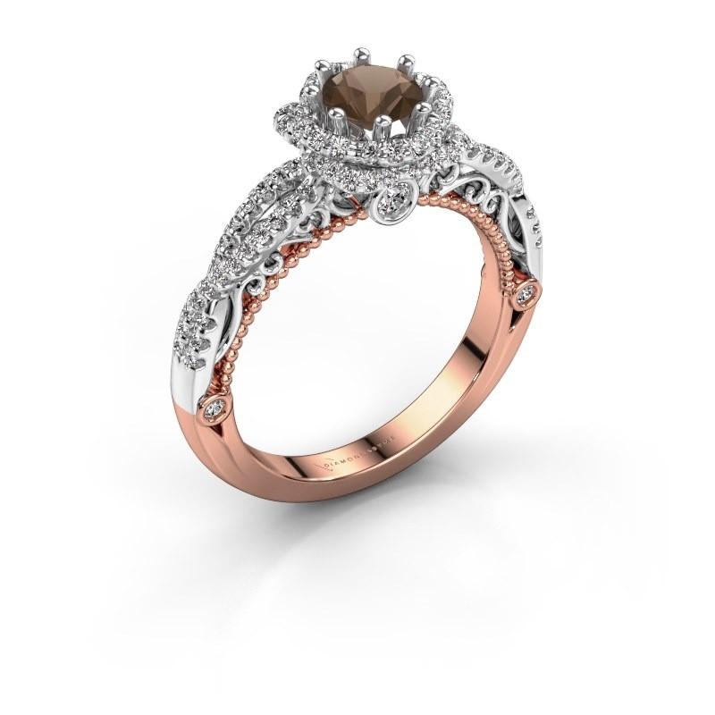Verlovingsring Lysanne 585 rosé goud rookkwarts 5 mm