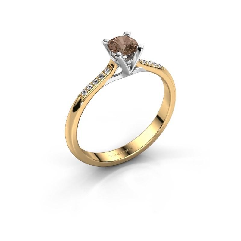 Aanzoeksring Isa 2 375 goud bruine diamant 0.30 crt