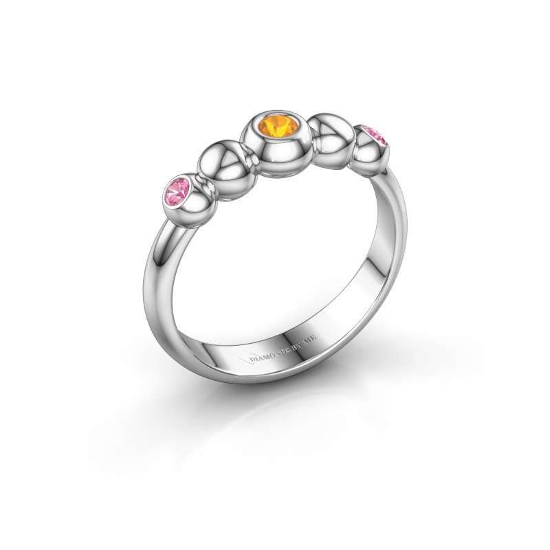 Stackable ring Lily 585 white gold citrin 2.5 mm