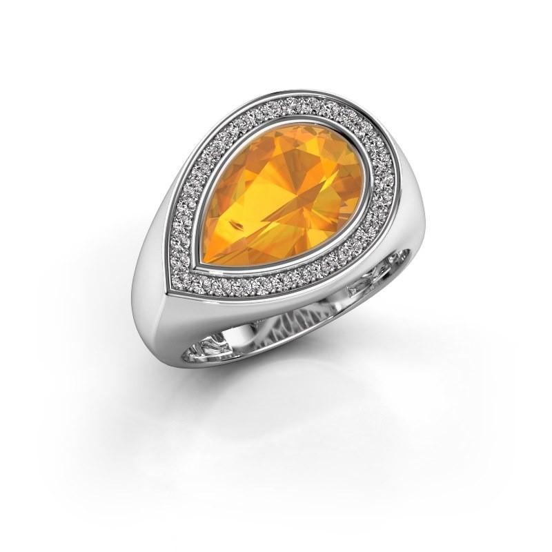 Ring Latashia 375 witgoud citrien 12x8 mm