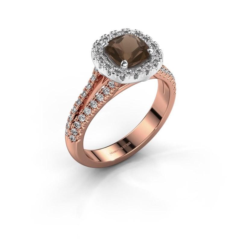 Verlovingsring Francesca 585 rosé goud rookkwarts 6 mm