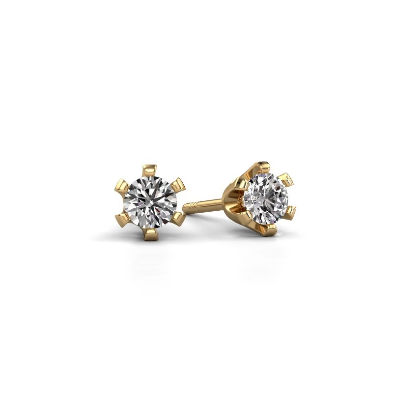 Stud earrings Shana 375 gold zirconia 4 mm