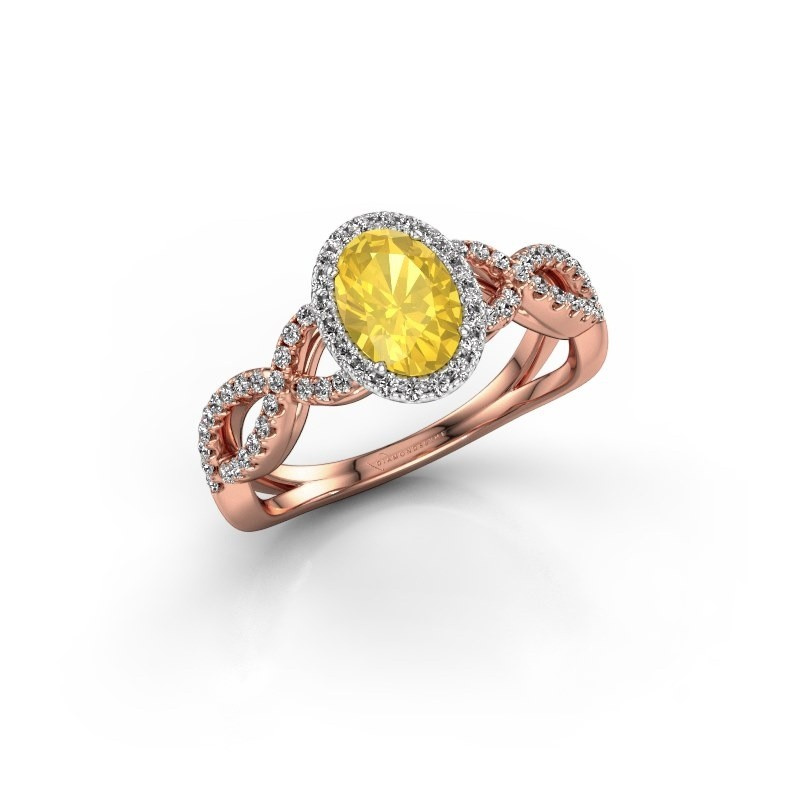 Engagement ring Dionne ovl 585 rose gold yellow sapphire 7x5 mm