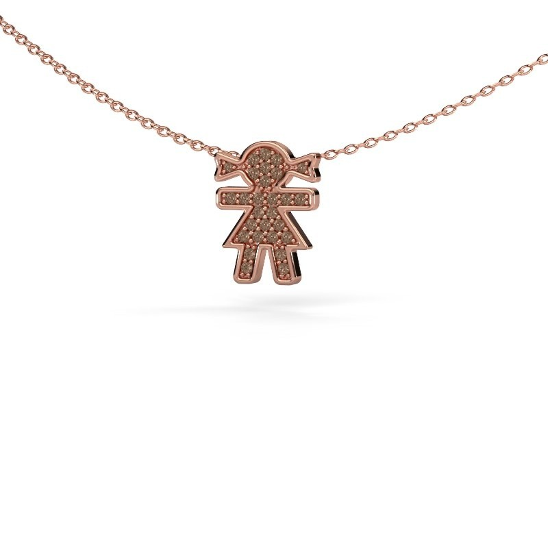 Collier Girl 375 rosé goud bruine diamant 0.135 crt
