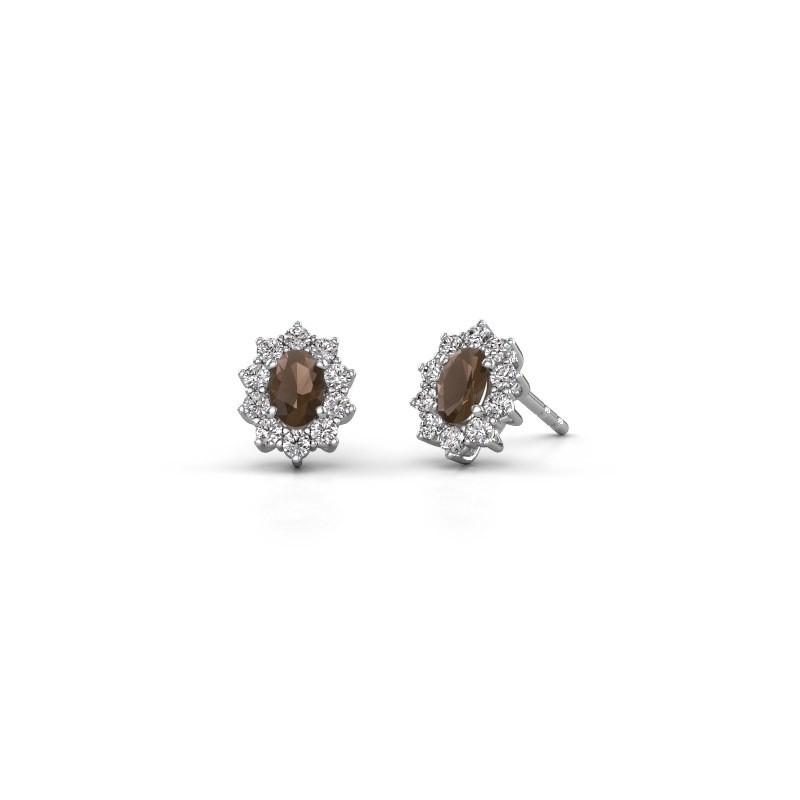 Earrings Leesa 585 white gold smokey quartz 6x4 mm