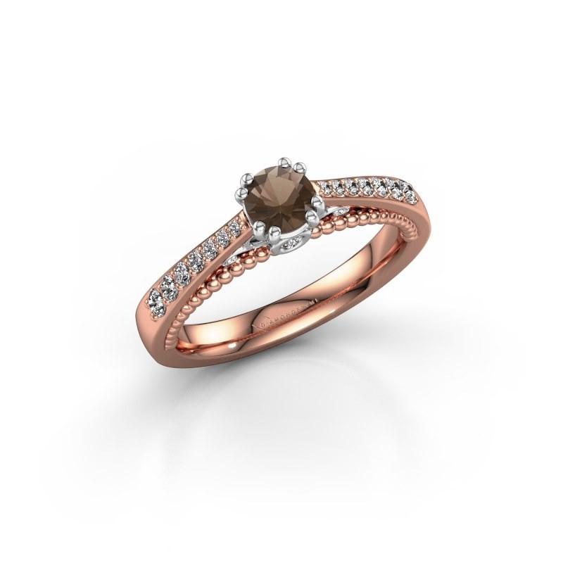 Verlovingsring Rozella 585 rosé goud rookkwarts 4.2 mm