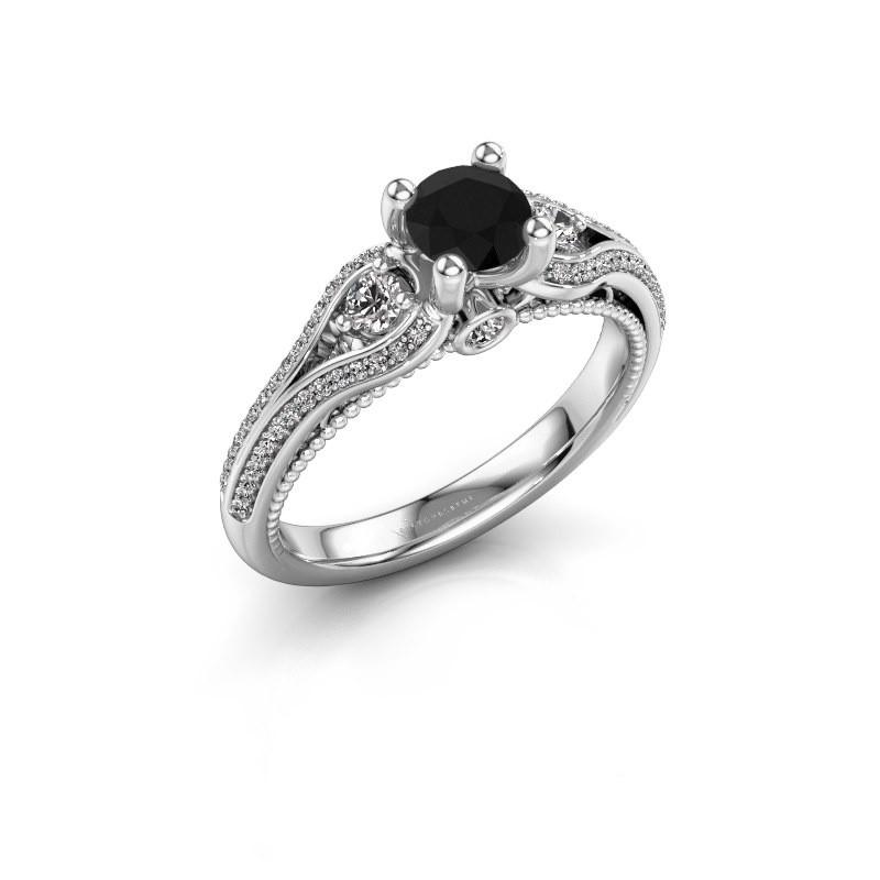 Verlovingsring Nikita 950 platina zwarte diamant 0.920 crt