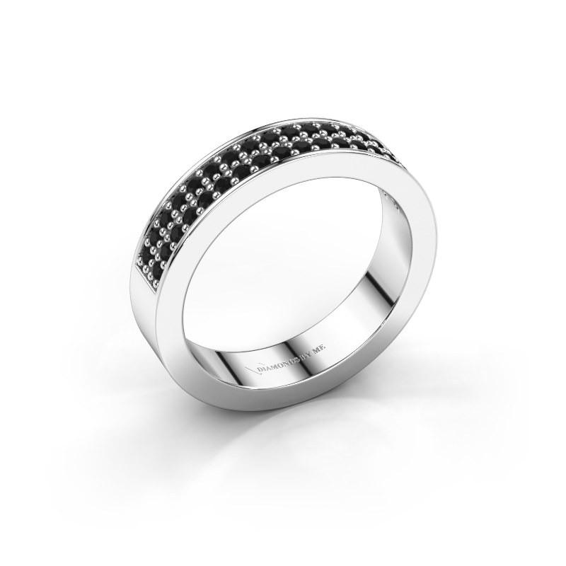 Stackable ring Catharina 4 950 platinum black diamond 0.432 crt