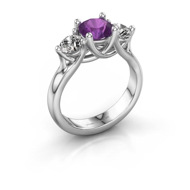 Engagement ring Esila 585 white gold amethyst 6.5 mm