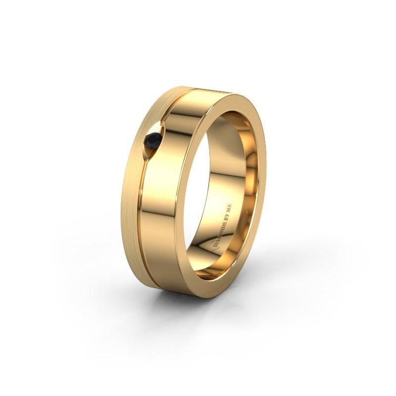 Wedding ring WH0329L16B 585 gold black diamond ±0.24x0.08 in