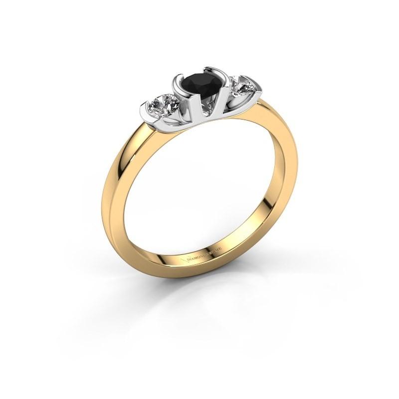 Bague Lucia 585 or jaune diamant noir 0.44 crt
