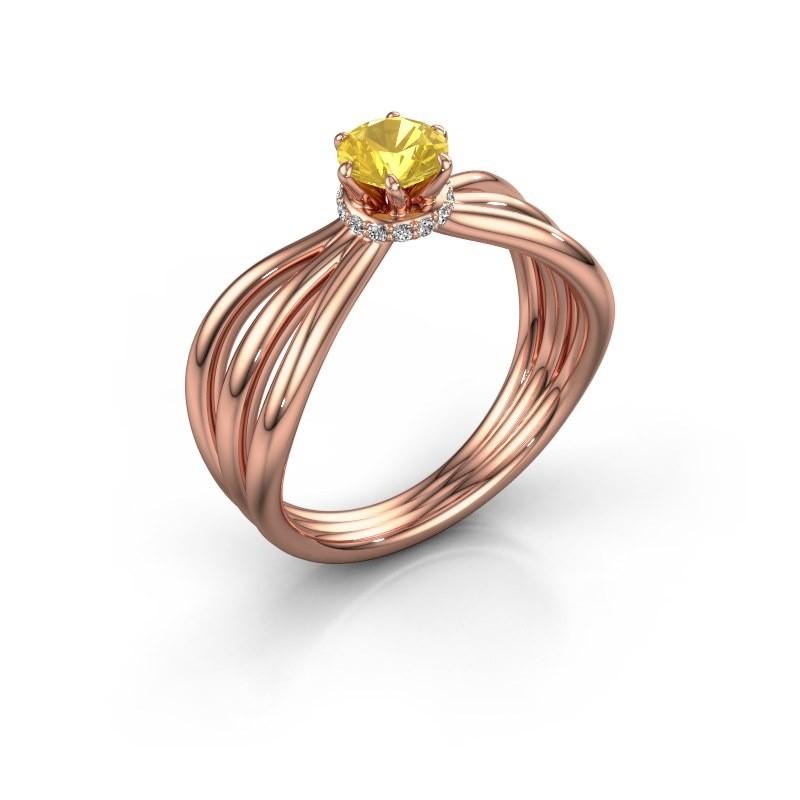 Verlovingsring Kimi 375 rosé goud gele saffier 5 mm