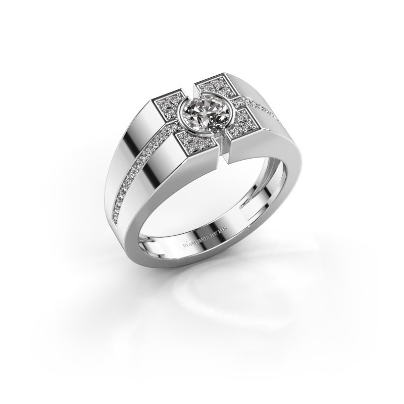 Men's ring Thijmen 375 white gold zirconia 5 mm