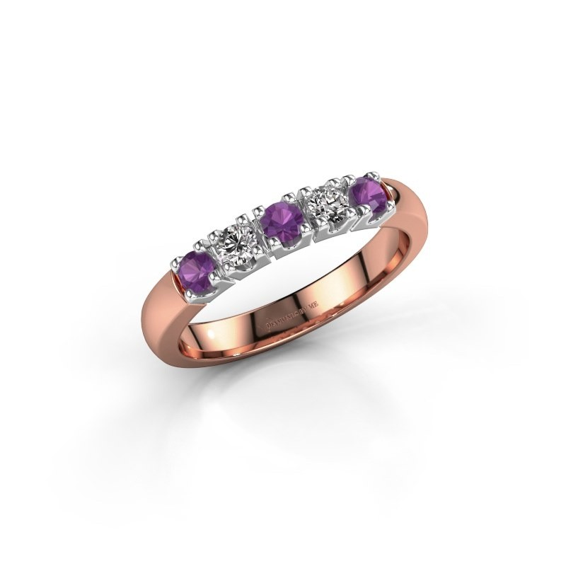 Engagement ring Rianne 5 585 rose gold amethyst 2.7 mm