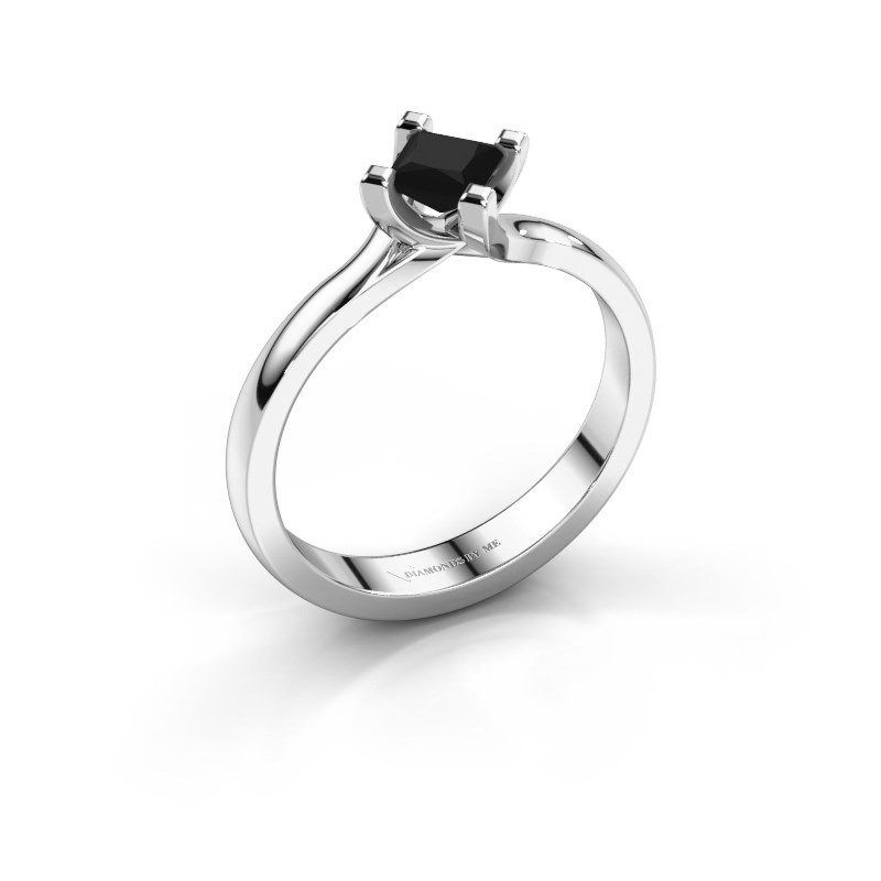 Modern White Gold Dewi Square Solitaire Ring With 0 48 Crt Black Diamond 30