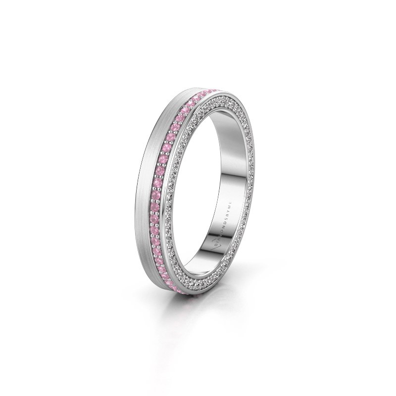 Trouwring WH2214L15BM 585 witgoud roze saffier 1 mm ±3,5x2 mm