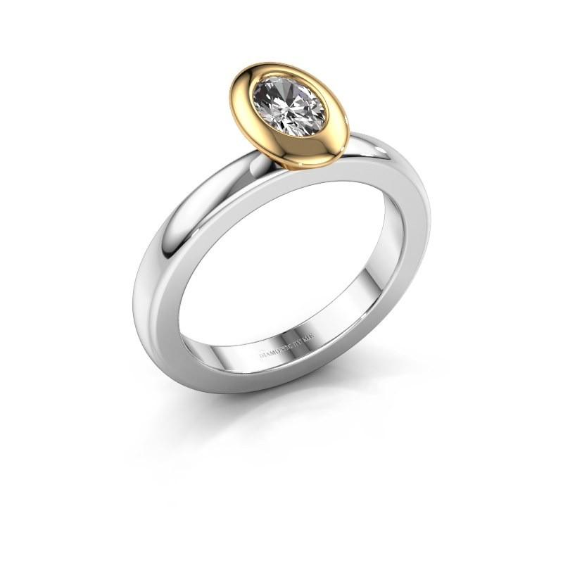 Steckring Trudy Oval 585 Weißgold Diamant 0.50 crt