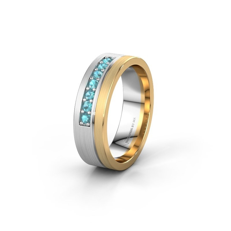 Trouwring WH0312L16AM 585 witgoud blauw topaas ±6x1.7 mm