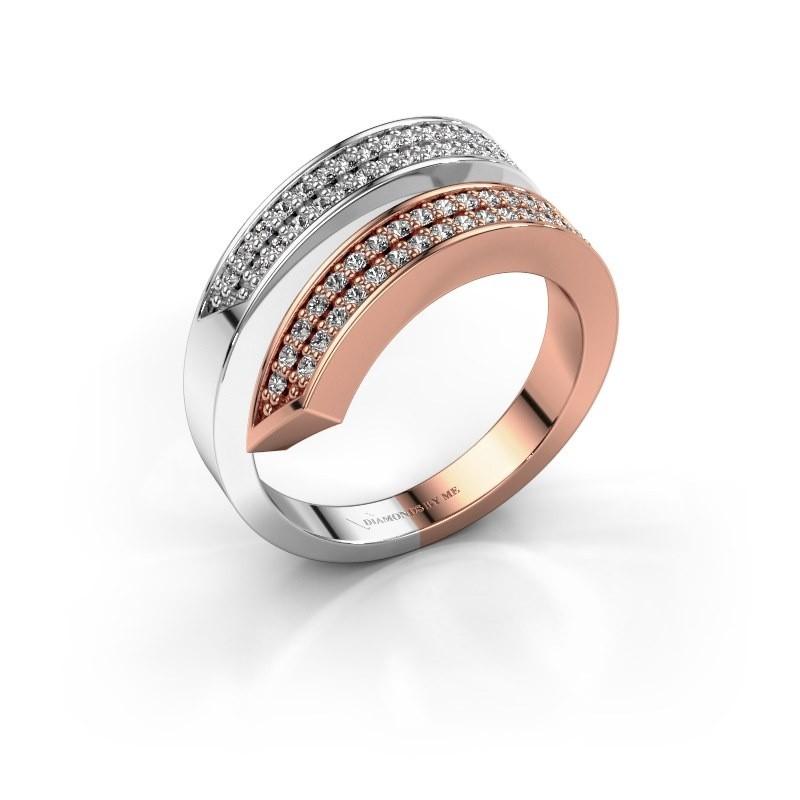Ring Pien 585 rosé goud zirkonia 1.2 mm