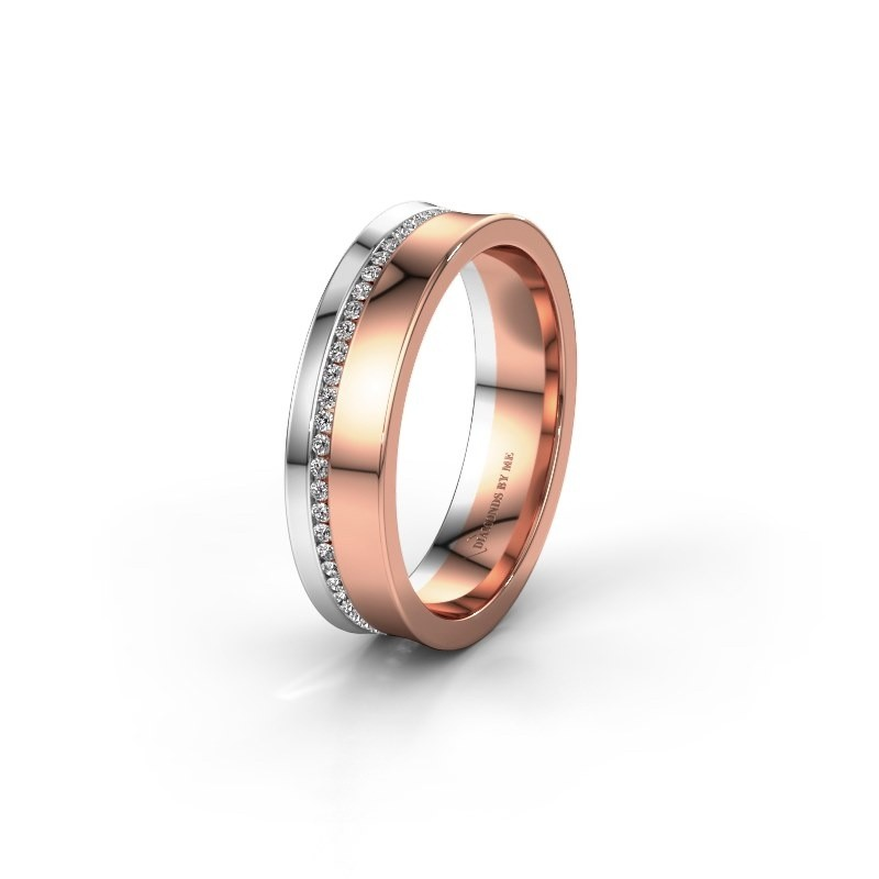 Wedding ring WH6090L55A 585 rose gold zirconia ±5x1.7 mm