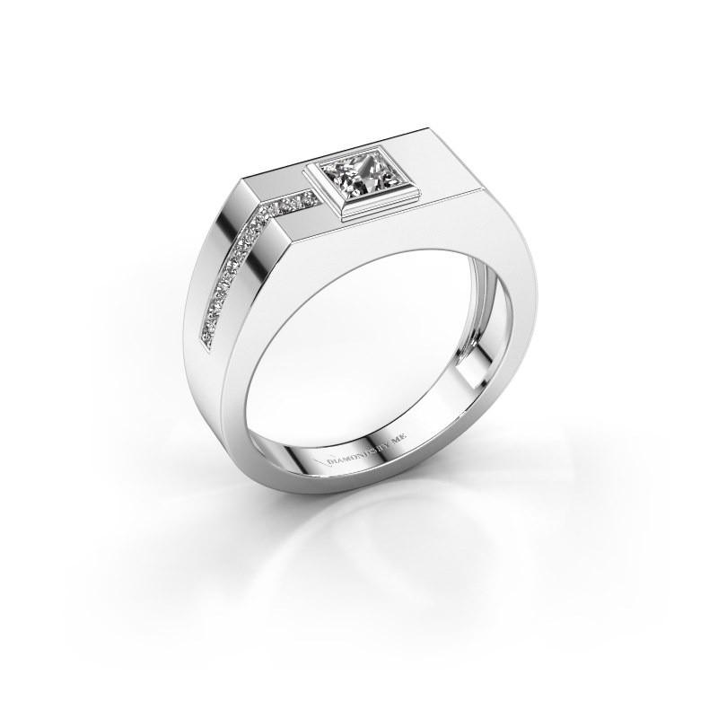 Heren ring Robertus 1 375 witgoud zirkonia 4 mm