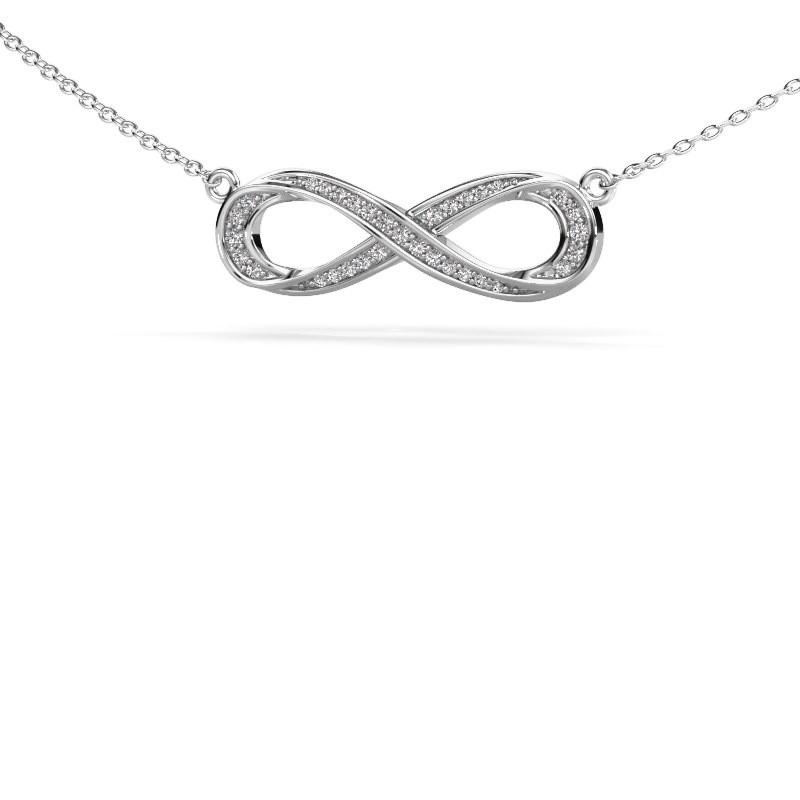 Halskette Infinity 2 585 Weißgold Zirkonia 0.8 mm