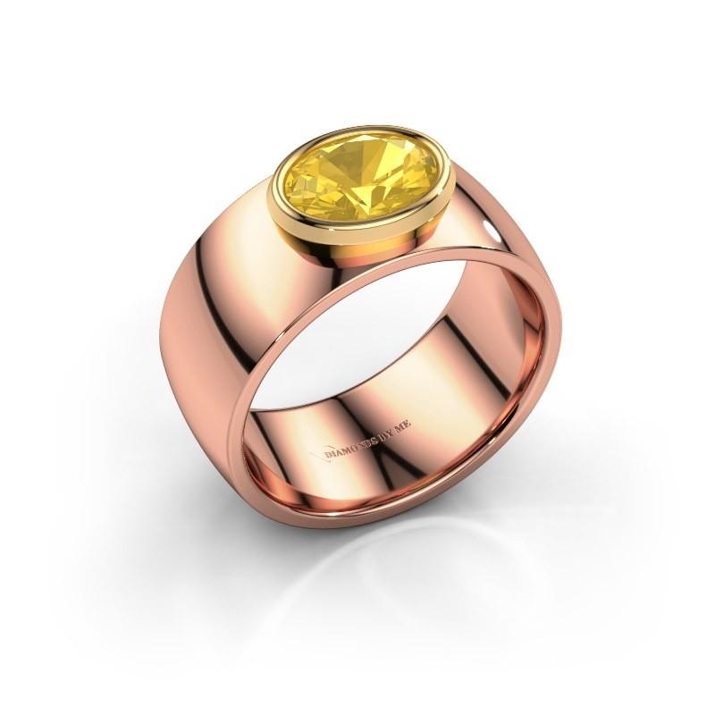 Ring Wilma 1 585 rosé goud gele saffier 8x6 mm