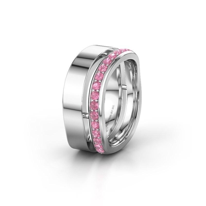 Huwelijksring WH6008L18BP 950 platina roze saffier ±10x2 mm