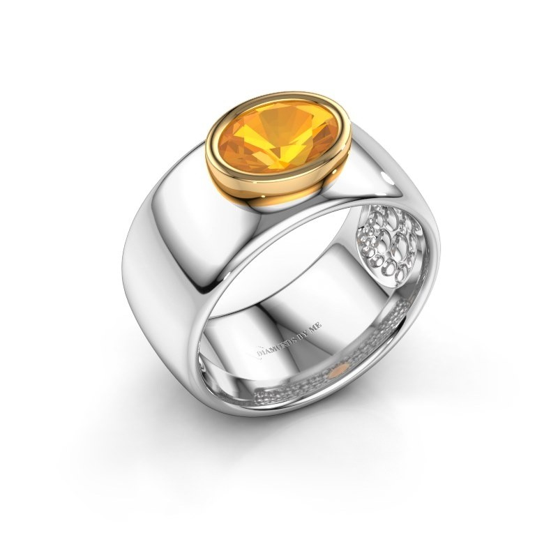 Bague Anouschka 585 or blanc citrine 8x6 mm