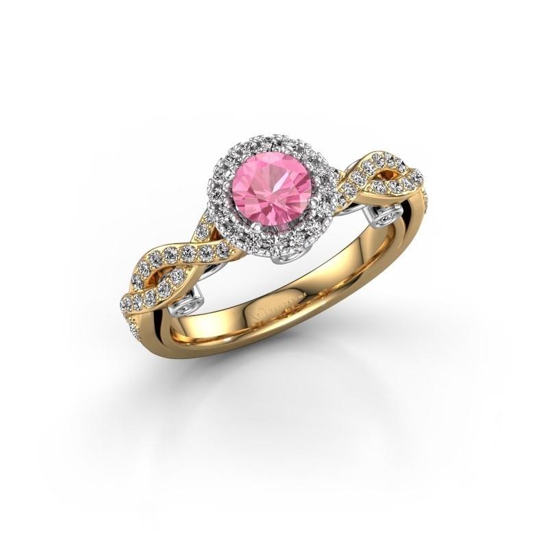 Verlovingsring Madeleine 585 goud roze saffier 5 mm