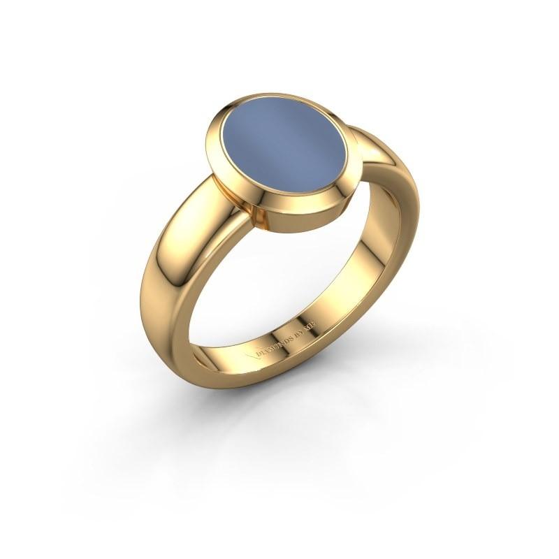 Zegelring Oscar 1 F 585 goud licht blauwe lagensteen 10x8 mm