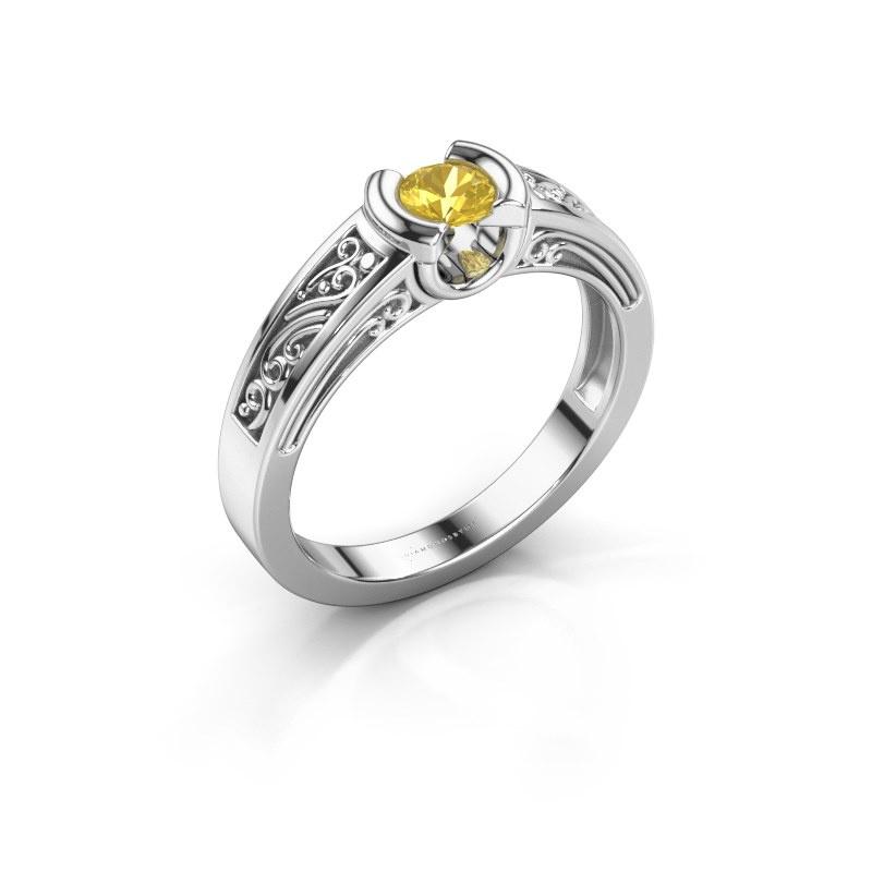 Ring Elena 585 white gold yellow sapphire 4 mm