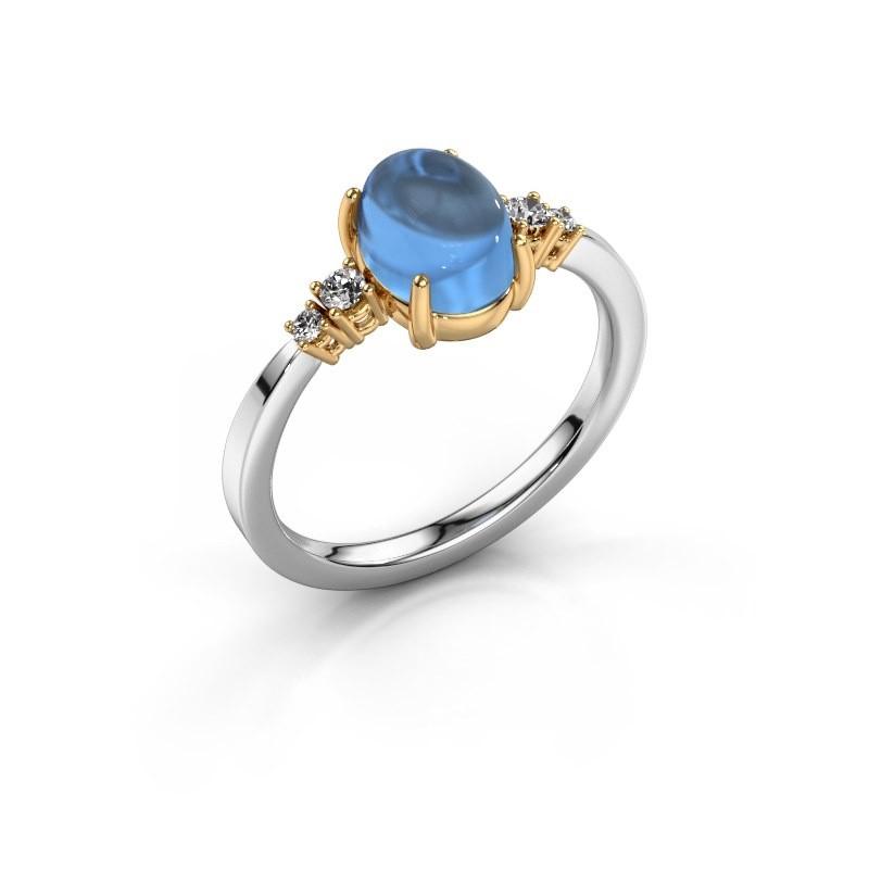 Ring Jelke 585 witgoud blauw topaas 8x6 mm
