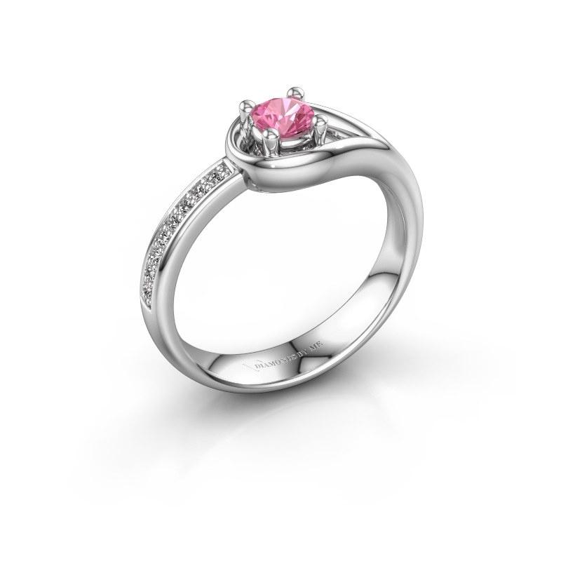 Ring Zara 950 platina roze saffier 4 mm