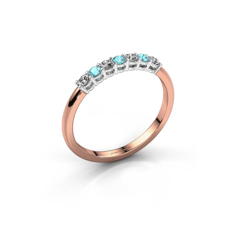 Verlovings ring Michelle 7 585 rosé goud blauw topaas 2 mm