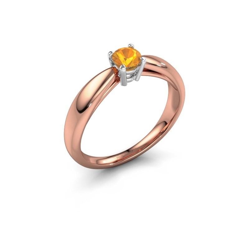 Verlovingsring Nichole 585 rosé goud citrien 4.2 mm
