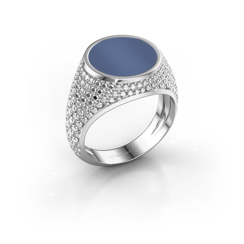 Zegelring Zachary 2 950 platina blauw lagensteen 12 mm