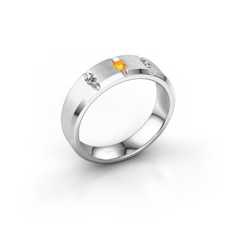Mannen ring Justin 925 zilver citrien 2.5 mm