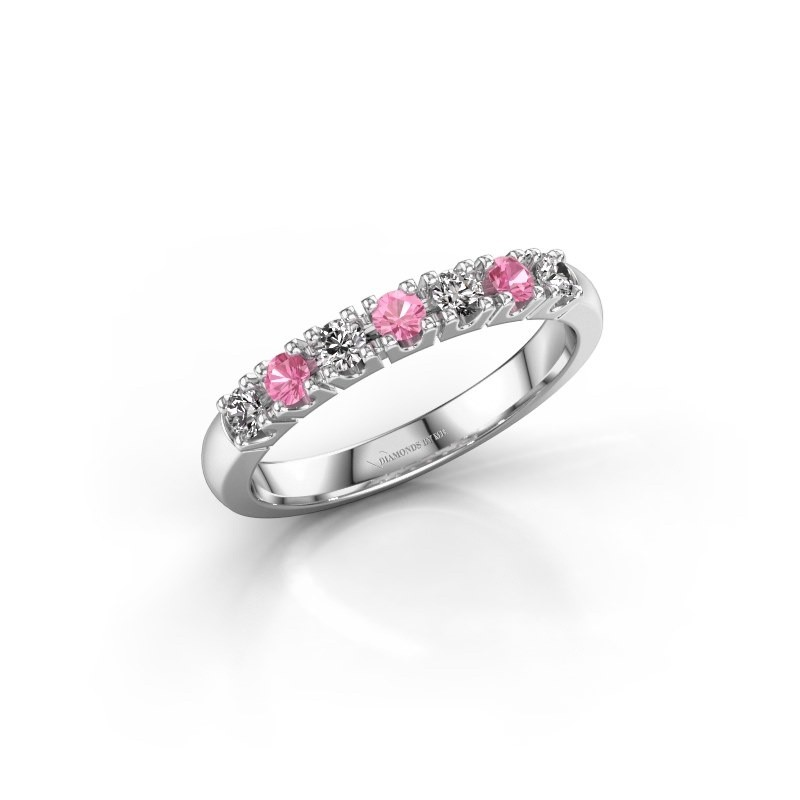 Engagement ring Rianne 7 585 white gold pink sapphire 2.4 mm