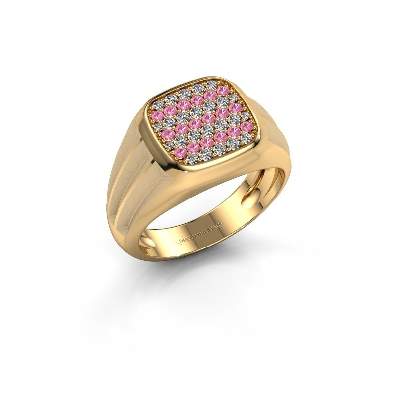 Pinky ring Robbert 585 gold pink sapphire 1.4 mm