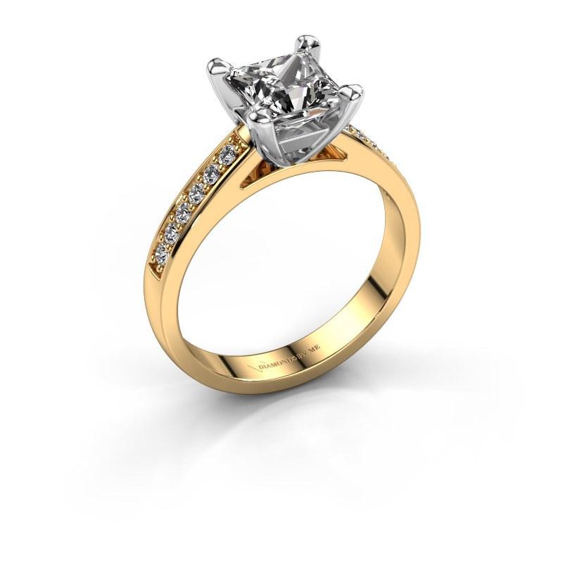 Engagement ring Nynke SQR 585 gold diamond 1.12 crt