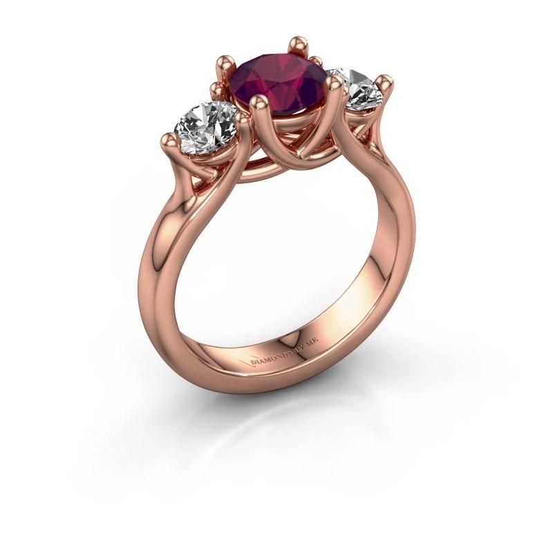 Verlovingsring Esila 375 rosé goud rhodoliet 6.5 mm