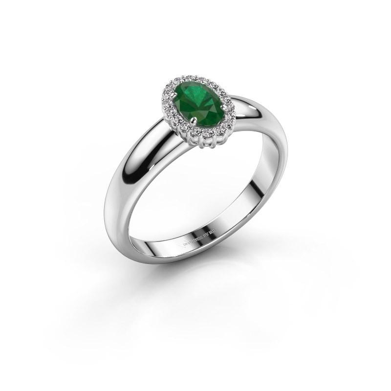 Engagement ring Tamie 950 platinum emerald 6x4 mm